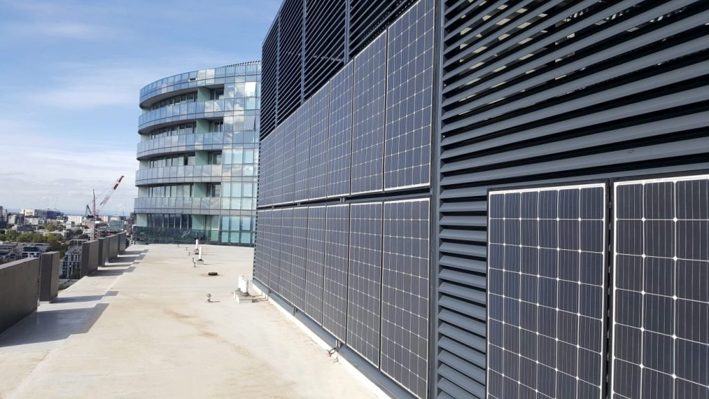 Photo of vertical solar panels at Harbour One